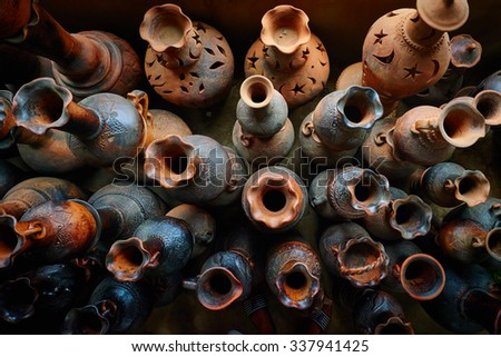 A village ceramic Bau Truc,  clay pots traditional handicraft in Vietnam. Using traditional techniques - stock photo