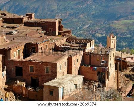 A village in High Atlas Region of Marocco - stock photo