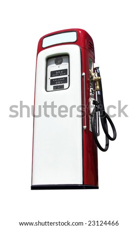 A vintage antique Gasoline fuel pump isolated on a white background. - stock photo