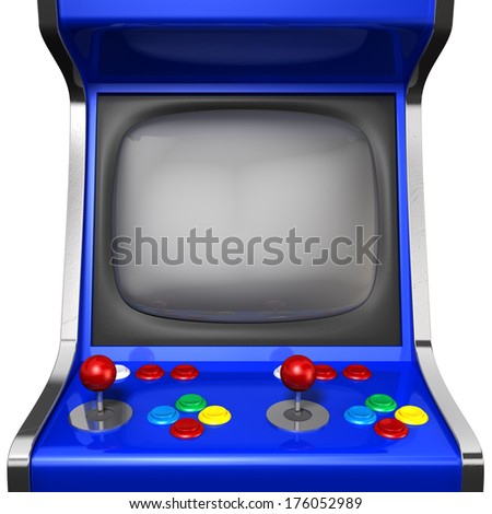 A vintage arcade game machine with colorful controllers and a screen on an isolated white background - stock photo