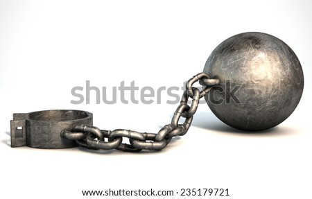 A vintage ball and chain with an open shackle on an isolated white studio background