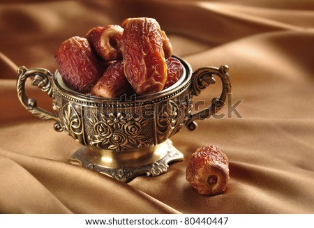 A vintage bowl of dates - stock photo