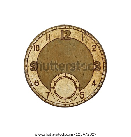 A vintage brass face of an antique clock with copyspace for text, isolated against white. - stock photo