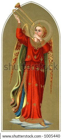 A vintage Byzantine style Christmas illustration of a angel blowing a trumpet (circa 1890) - stock photo