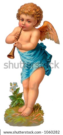 A vintage cherub illustration with flute - circa 1885 (see also other paired angel - search on ''RLIT0098'') - stock photo