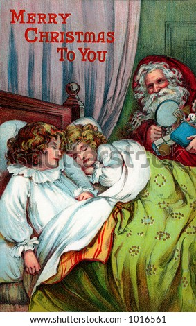 A vintage Christmas greeting card illustration of Santa giving gifts at a child's bedside (circa 1899) - stock photo