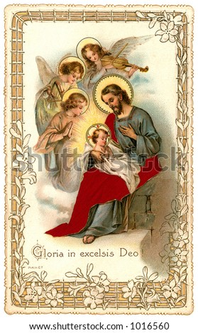 A Vintage Christmas Nativity Greeting Card With Angels Circa 1898
