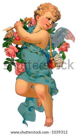 A vintage cupid illustration with flowers and arrows (circa 1885) - stock photo
