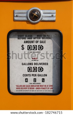A vintage dial of yellow oil filling tool - stock photo