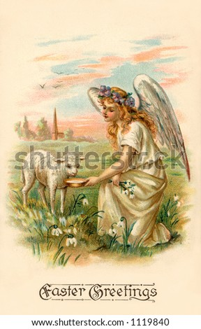 A vintage Easter illustration of an angel feeding a lamb (circa 1909) - stock photo