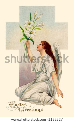 A vintage Easter illustration of an angel holding Easter Lilies (circa 1911) - stock photo