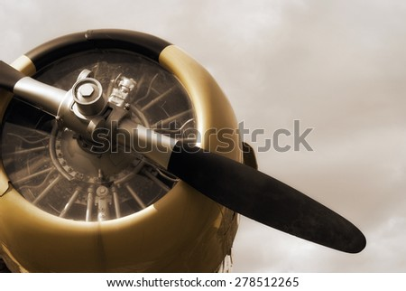 A vintage edit of an old historic war plane on display in a public park, located in Smiths Falls, Canada.  - stock photo