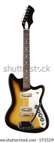 A vintage electric guitar on a white background. - stock photo