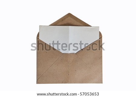 A vintage envelope with letter inside - stock photo