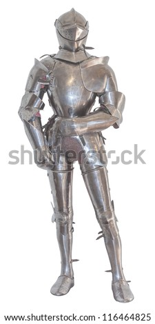 A vintage european full body armor suit isolated against white background. - stock photo