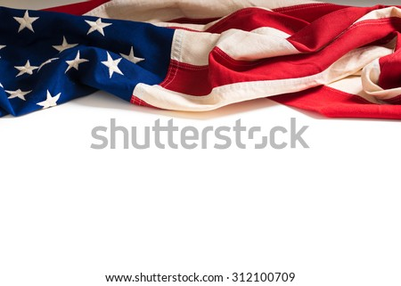 A vintage flag of the United States of America on white with copy space - stock photo