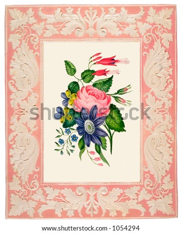 A vintage floral illustration surrounded by a fabric frame (circa 1870) - stock photo