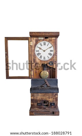 A Vintage Grandfather Clock Isolated on a White Background - stock photo