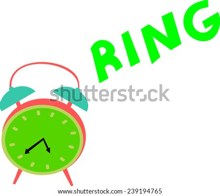 A vintage green clock rings out loud in order to wake up someone.