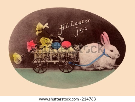 A vintage, hand-tinted photograph, used as an Easter greeting card, circa 1910 - stock photo