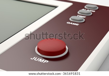 A vintage handheld video game console with a blank screen on an isolated white background - stock photo