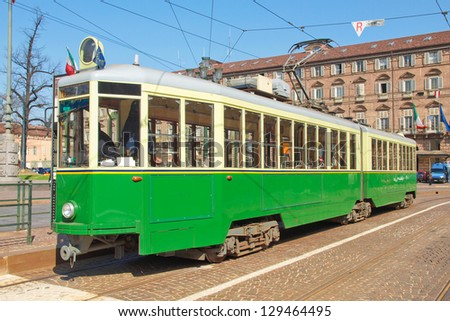 A vintage historical tramway in Turin, Italy