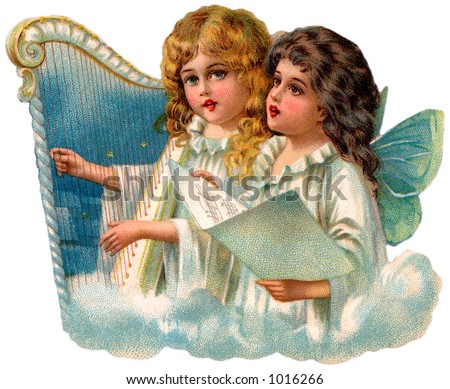 A vintage illustration of little angels singing (circa 1890) - stock photo