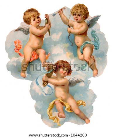 A vintage illustration of three cherubs in the clouds (circa 1882)