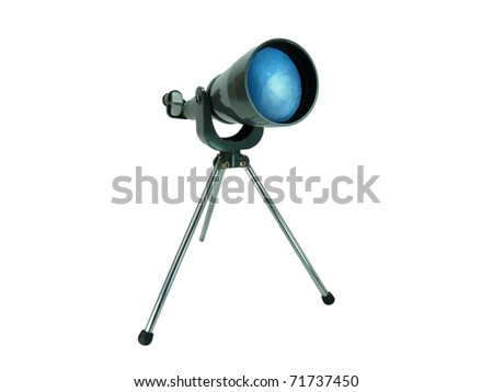 a vintage metal telescope set up for viewing the stars isolated on white with a clipping path