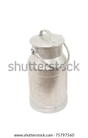 a vintage milk can isolated on white