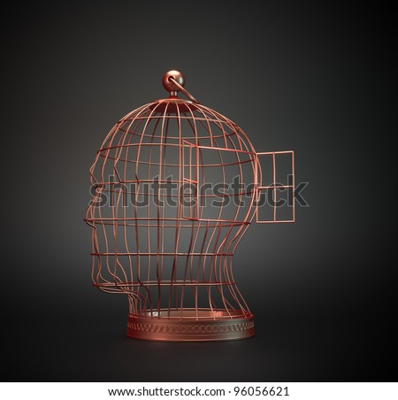 A vintage old bird cage shaped like a human head - stock photo