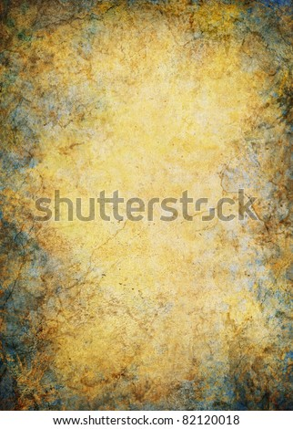 A vintage paper background with marbled grunge patterns, cracks and textures. - stock photo