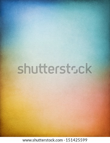 A vintage paper background with multi-colored gradients.  Image displays a distinct paper grain and texture at 100 percent. - stock photo