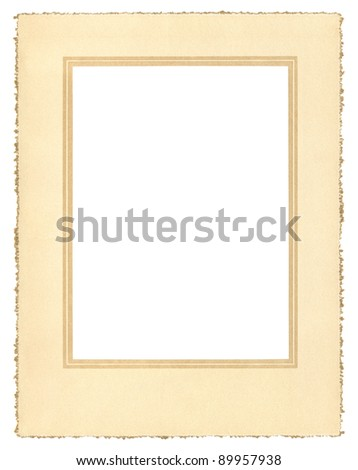 A vintage paper frame from about 1900 with a decorative border and a true deckle edge.  File includes a clipping path. - stock photo