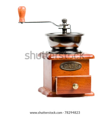 a vintage photo of coffee mill isolated on white - stock photo