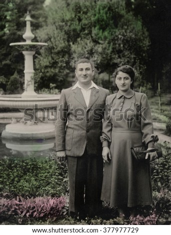 A vintage photo portrait from 1951 of Armenian family.