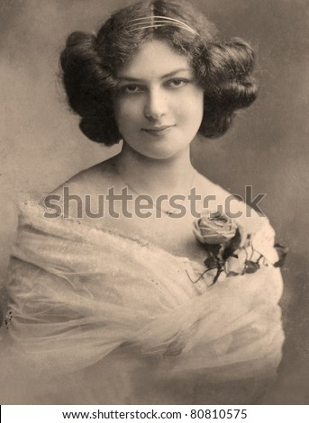 A vintage photo portrait from 1913 of Russian women. - stock photo