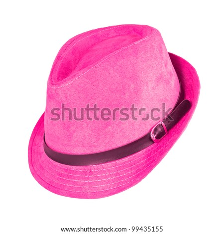 A vintage pink hat on white background - stock photo