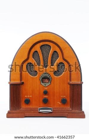 A vintage radio on white background. - stock photo