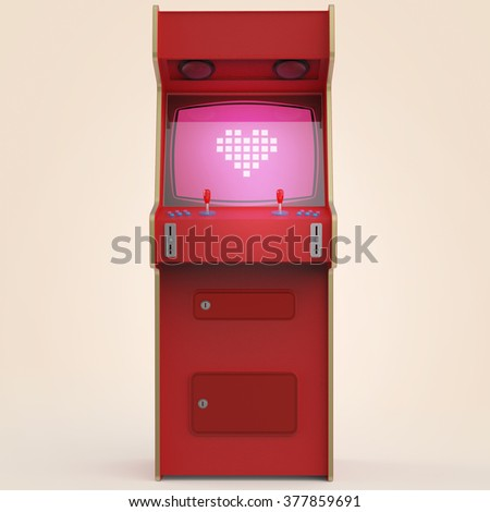 A vintage red arcade game machine cabinet with pixel heart icon colorful controllers and a screen isolated. love, gaming, vintage, win, couple metaphor. high quality 3d rendering. - stock photo