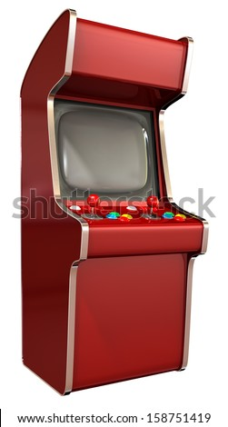 A  vintage red unbranded arcade game with a joystick and four various colored buttons and a blank screen on an isolated white background - stock photo