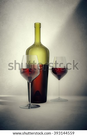A vintage red wine bottle with two glasses - stock photo