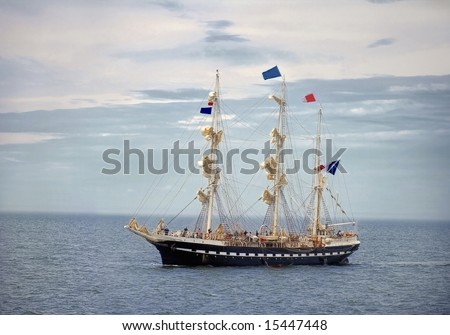 A vintage sailing ship on St-Lawrence River. - stock photo
