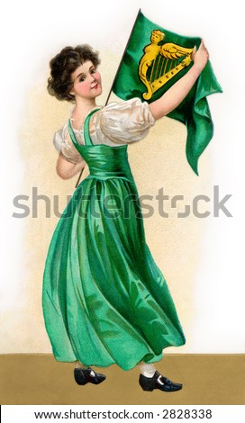 A 1908 vintage St. Patrick's Day illustration of an Irish maiden holding the flag of Ireland - stock photo