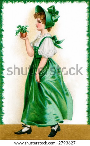 A 1907 vintage St. Patrick's Day illustration of an Irish maiden showing 'The Wearing of the Green' - stock photo