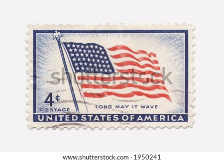 A vintage stamp with United States of America's flag