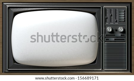 A vintage tv made of plastic, chrome and wood on an isolated white background - stock photo