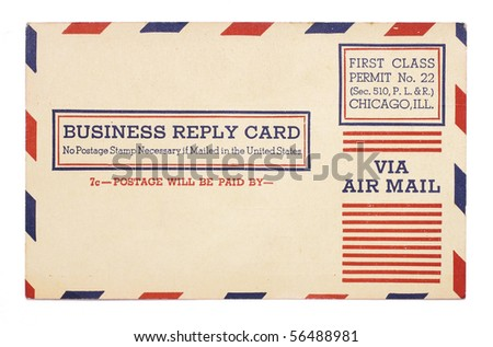 A vintage United States first class, airmail business reply card with red and blue stripes around border. - stock photo