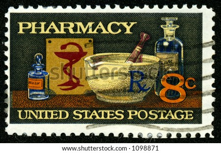 A vintage US postage stamp depicting pharmacy, eight 8 cents - stock photo
