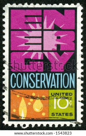 A vintage US Postage Stamp from the 1970s depicting the theme of Engery Conservation - stock photo
